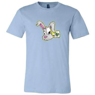 """Funky Bunny"" on Light Blue, Unisex Tee."
