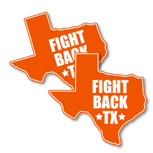 """Fight Back Texas"" stickers from <a href=""http://prochoicetexas.org/"" title=""NARAL website"" style=""text-decoration:underline;"">NARAL Pro-Choice Texas</a>. Two 4"" x 3.75"" custom-cut  vinyl stickers in every pack."
