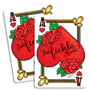 """Fuck Fickle Hearts"" by Roshi K. Pack of two Stickers."