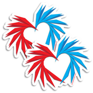 """Paper Cut Heart"" by Campbell Farish. Pack of two Stickers."