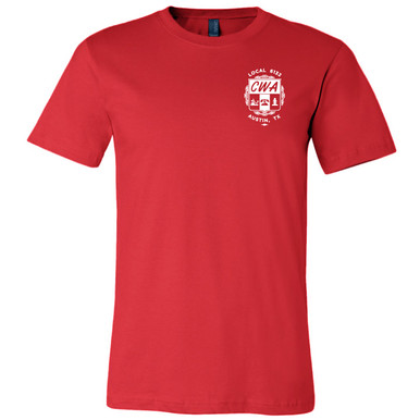 CWA Local 6132 Logo (front only) on Red, Unisex Tee.