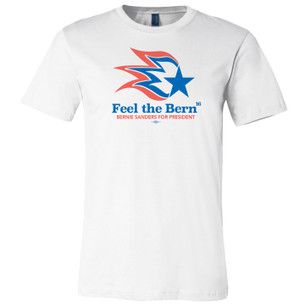 """Feel the Bern"" Graphic on White Tee"