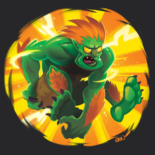 """Blanka"" -- By Kevin Chin (on Black Tee)"