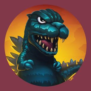 """""""Godzilla"""" -- By Kevin Chin (on Maroon Tee)"""