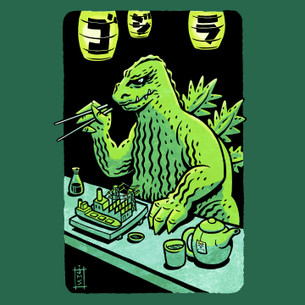 """Godzilla"" -- By Stovepipe (on Evergreen Tee)"