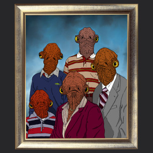 """Ackbar Family Portrait"" -- By Lance Schibi (on Black Tee)"
