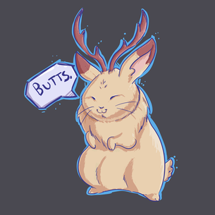 """Butts Alope"" Graphic -- By Carissa Cornelius (on Dark Heather Gray Tee)"