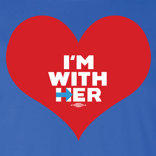 """I'm With Her"" Graphic  (Front and Back On Royal Blue Tee)"