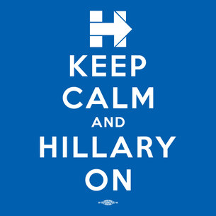 """Keep Calm and Hillary On"" Graphic (on Royal Blue Tee)"