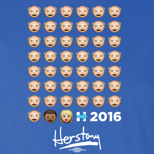 """Emoji People Herstory"" Graphic (on Royal Blue Tee)"