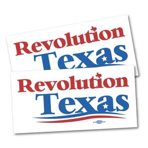 "Two ""Revolution Texas Logo"" 7.5"" x 3.75"" Stickers"