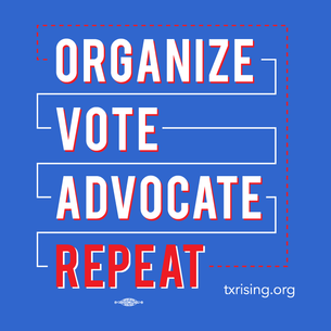 """Organize. Vote. Advocate. Repeat."" Graphic (on Royal Blue Tee)"
