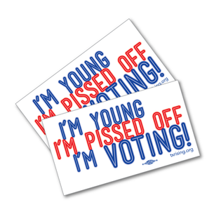 "Two ""Young & Pissed Off"" 4.5"" x 2.5"" Stickers"