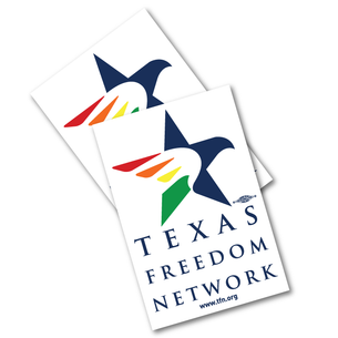 "Two ""Texas Freedom Network Logo"" 2.5"" x 3.75"" Stickers"