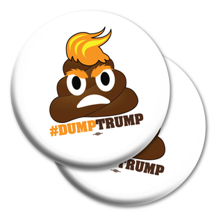 "Two ""#DumpTrump"" 2.25"" Mylar Buttons"