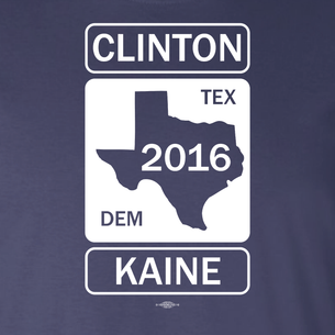 Clinton Kaine Texas Road Sign Graphic (On Navy Tee)