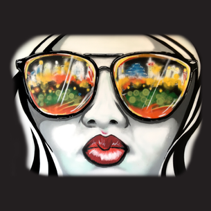 """Girl Sunglasses"" Graphic (on  Black Tee)"