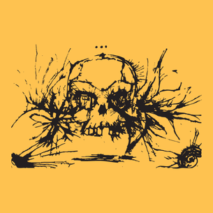 """Ink Skull"" Graphic (on Gold Tee)"