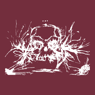 """Ink Skull"" Graphic (on Maroon Tee)"