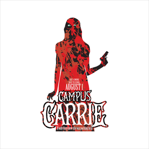 """Campus Carrie"" Graphic (on White Tee)"