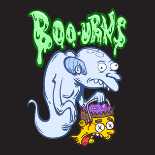 """BOO-URNS!"" Graphic (on Black Tee)"