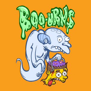 """BOO-URNS!"" Graphic (on Orange Tee)"
