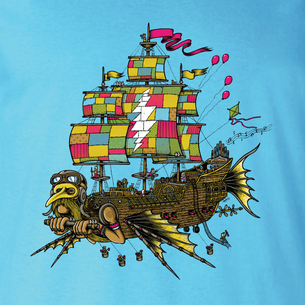 """Airship Of Fools""  Graphic -- By Matt Leunig (on Aqua Tee)"