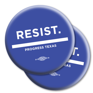 "Two ""Resist."" 2.25"" Mylar Buttons"