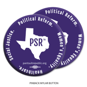"Two ""Pantsuit Republic""  Purple 2.25"" Mylar Buttons"