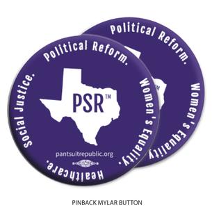 """Two """"Pantsuit Republic""""  Purple 2.25"""" Mylar Buttons"""
