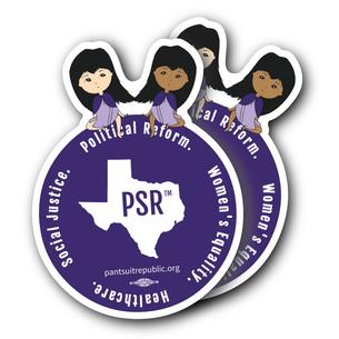 "Two ""PSR Women's Equality""  3.5x4.5"" Custom Stickers"