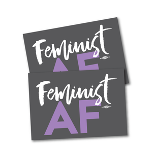 "Two ""Feminist AF Script"" Stickers 5"" x 3.5"""