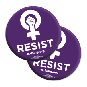 "Two ""Resist!"" 2.25"" Mylar Buttons"