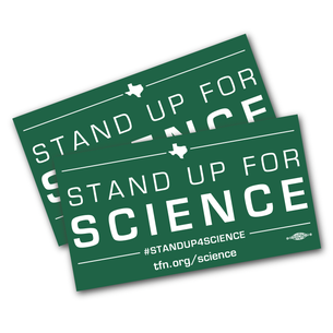 "Two ""Stand Up For Science"" 6"" x 3"" Stickers"