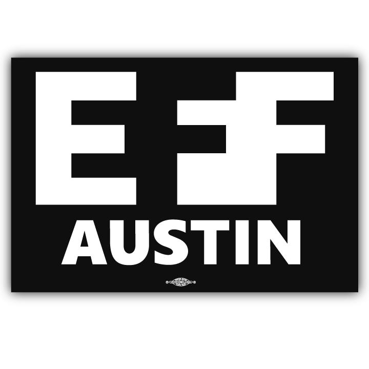 two eff austin logo 5 x 3 stickers bumperactive
