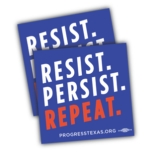 "Two ""Resist, Persist, Repeat"" 4"" x 4"" Stickers"