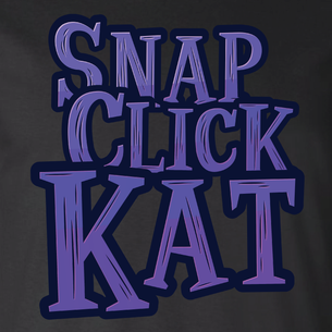 """Snap Click Kat"" Stacked Logo Graphic (on Black Tee)"