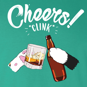 """Cheers *Clink*"" Graphic - SCK! (on Kelly Green Tee)"