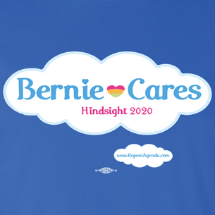 """Bernie Cares"" by David Peirce - Repent Agenda (on Royal Blue Tee)"