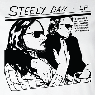 """Steely Dan"" Graphic by Nate Sakulich (On White Tee)"