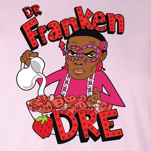 """Dr. Frankendre"" Graphic by Seth Melton (On Pink Tee)"