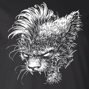 """Mohawk Cat"" Graphic by Michael Pollock (On Black Tee)"