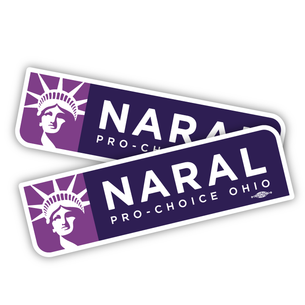 "Two official ""Naral: Pro-Choice Ohio"" Vinyl Stickers ( 10"" x 3"")"