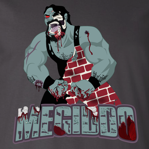 """Zombified Megiddo"" logo graphic (On Dark Gray Tee)"