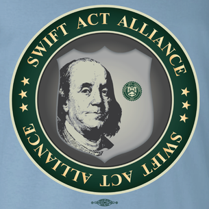 SWIFT Act Alliance Logo (On Steel Blue Tee)
