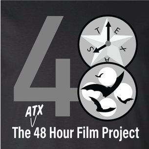 48 Hour Film Logo - Grayscale Version  (On Black Tee)