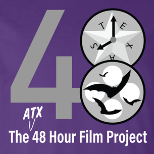 48 Hour Film Logo - Grayscale Version  (On Purple Tee)