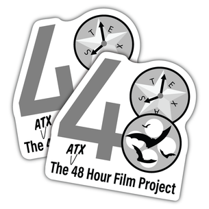 "Two ""48 Hour Film Club - Grayscale Version"" Vinyl Stickers ( 4"" x 4"")"