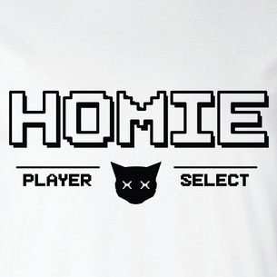 """Homies - Player Select"" Graphic (on White Tee)"