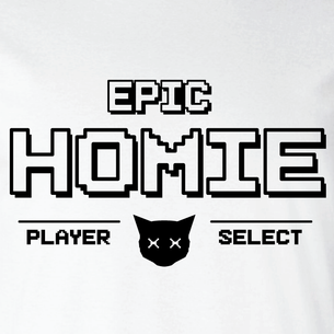 """EPIC Homies - Player Select"" Graphic (on White Tee)"